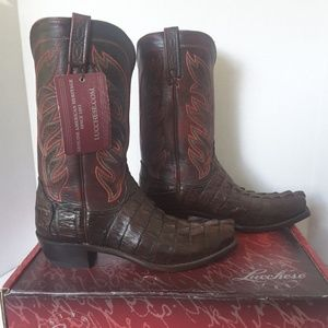 Lucchese Mens Barrel Brown Caiman Tail Boots 11.5D